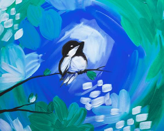 A Winter Chickadee paint nite project by Yaymaker