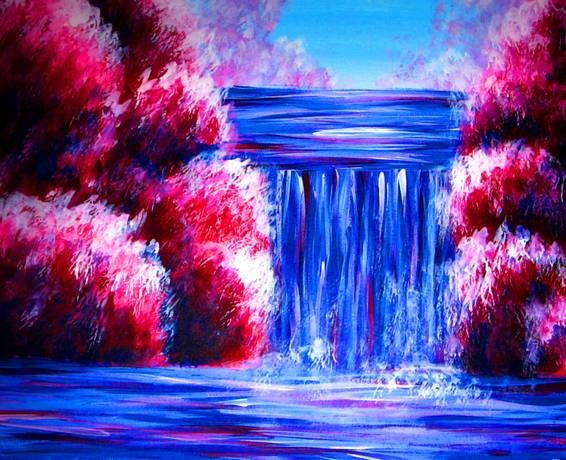 A Romantic Waterfall paint nite project by Yaymaker