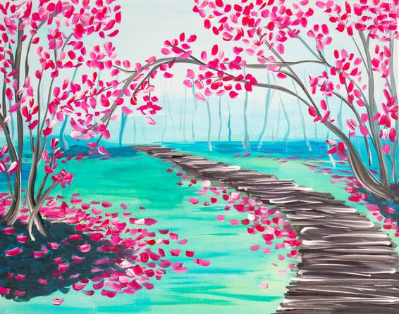 A Boardwalk and Blooming Forest paint nite project by Yaymaker