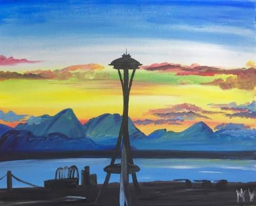 A Space Needle Sunset II paint nite project by Yaymaker