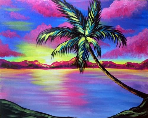 A Tropic Skies Palm Tree paint nite project by Yaymaker
