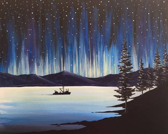 A Northern Lights the Way paint nite project by Yaymaker