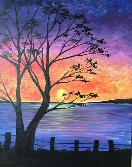 A Sunset by the Bay paint nite project by Yaymaker