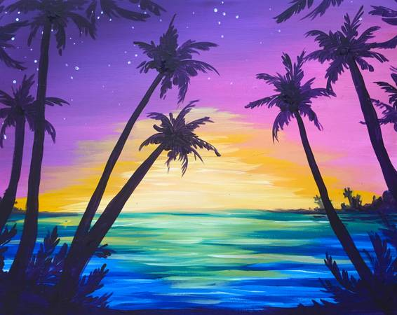 A Palms at Sunset paint nite project by Yaymaker