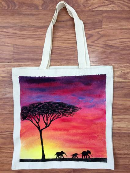 A Elephants On Parade Tote Bag paint nite project by Yaymaker