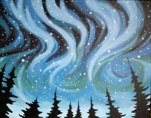 A Snowy Northern Lights II paint nite project by Yaymaker