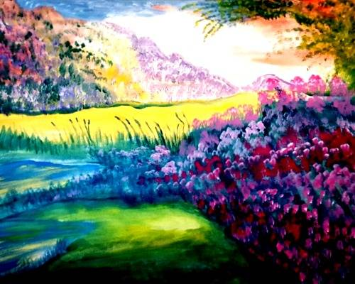 A Ponds and Blossoms paint nite project by Yaymaker