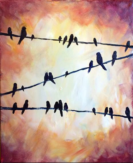 A Summer Birds on a Wire paint nite project by Yaymaker
