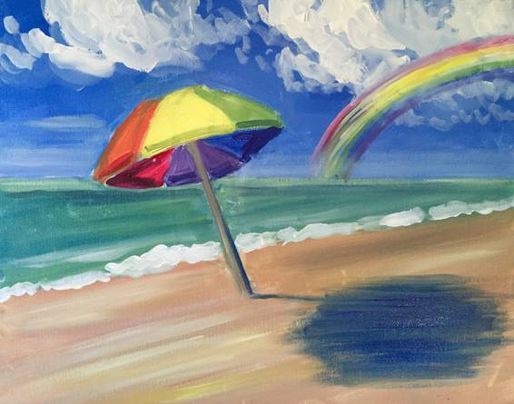 A A Day At Rainbow Beach paint nite project by Yaymaker