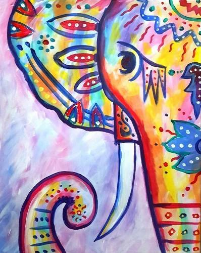 A RAINBOW The Boho Elephant paint nite project by Yaymaker