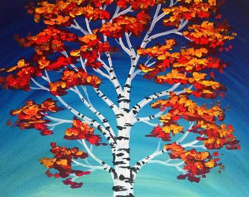 A Birch Tree paint nite project by Yaymaker