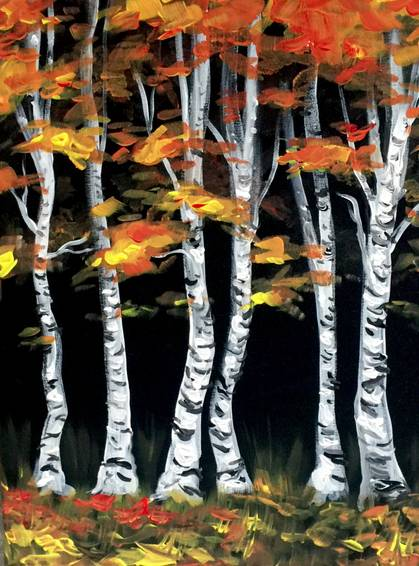 A Birch Trees in Autumn paint nite project by Yaymaker