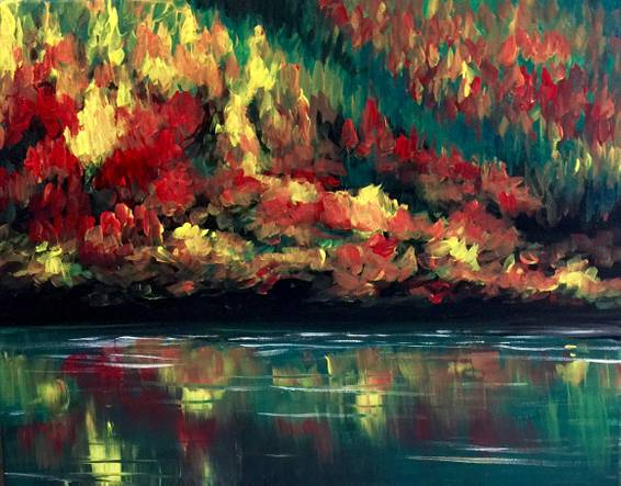 A Autumn Forest Reflection paint nite project by Yaymaker