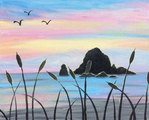 A Beach Glow paint nite project by Yaymaker