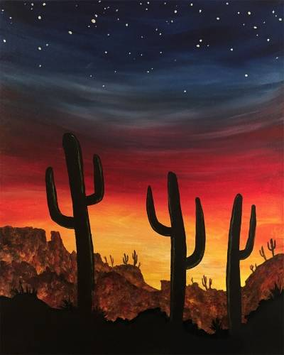 A Desert Sunset VI paint nite project by Yaymaker
