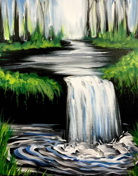 A The Hidden Waterfall paint nite project by Yaymaker