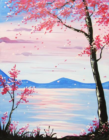 A Serene Red Tree at Dusk paint nite project by Yaymaker