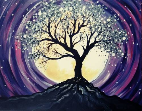 A Purple Twilight Tree paint nite project by Yaymaker
