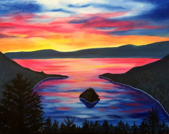 A Tahoe Sunrise paint nite project by Yaymaker