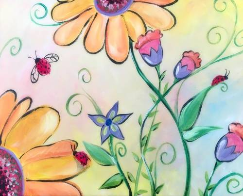 A Sunflower Ladybug Heaven paint nite project by Yaymaker