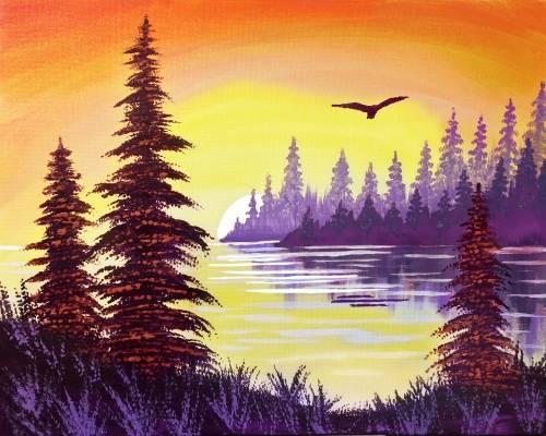 A Lake Sunset paint nite project by Yaymaker