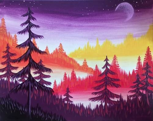 A Forest Twilight paint nite project by Yaymaker