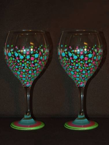 A Funfetti  Wine Glasses paint nite project by Yaymaker