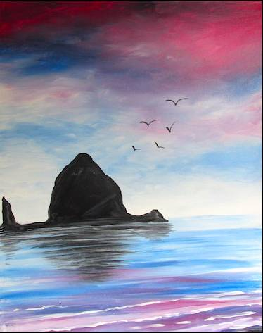 A Colorful Waters of Cannon Beach paint nite project by Yaymaker