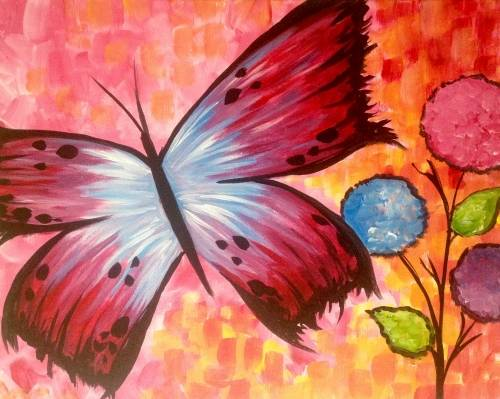 A Butterfly Me Away paint nite project by Yaymaker