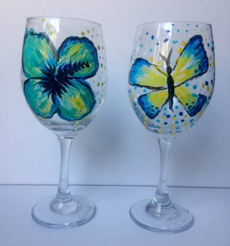 A Butterfly and Hibiscus  Wine Glasses paint nite project by Yaymaker