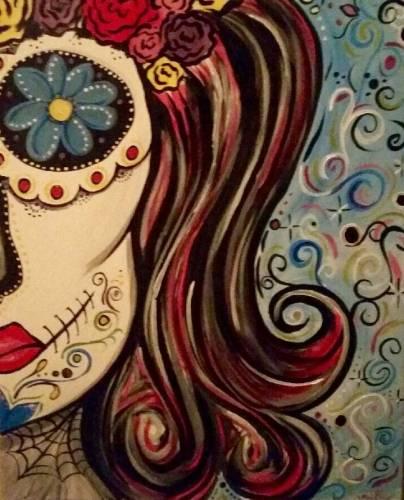 A Flower Skull Beauty paint nite project by Yaymaker