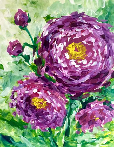 A Purple Poppies paint nite project by Yaymaker