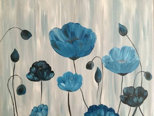 A Blue Blooms ll paint nite project by Yaymaker