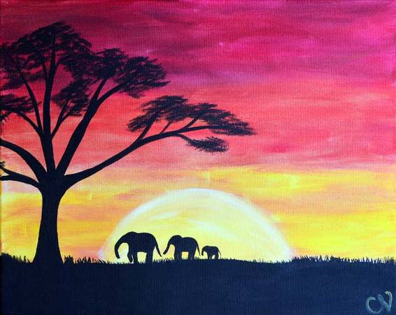 A Safari Sunset paint nite project by Yaymaker