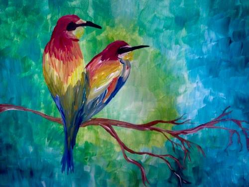 A Midnight Lovebirds paint nite project by Yaymaker
