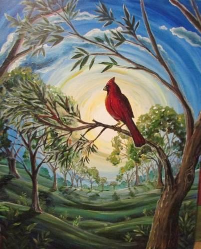 A Cardinal Sunrise paint nite project by Yaymaker