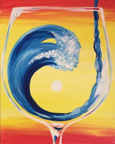 A Wine Wave Zen paint nite project by Yaymaker