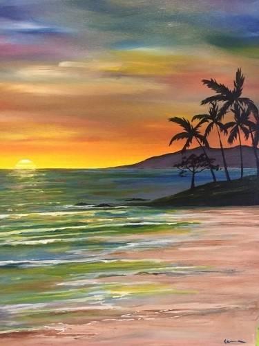 A Aloha Sunset paint nite project by Yaymaker