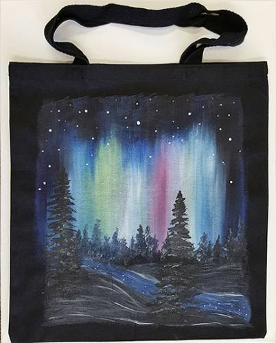 A Northern Lights Black Tote Bag paint nite project by Yaymaker