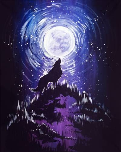 A Wolf Howling At The Moon paint nite project by Yaymaker