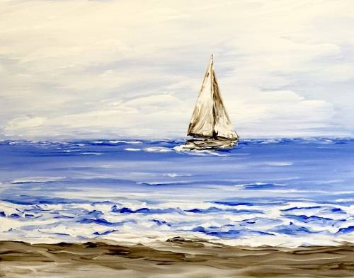 A Small Boat on the Ocean paint nite project by Yaymaker