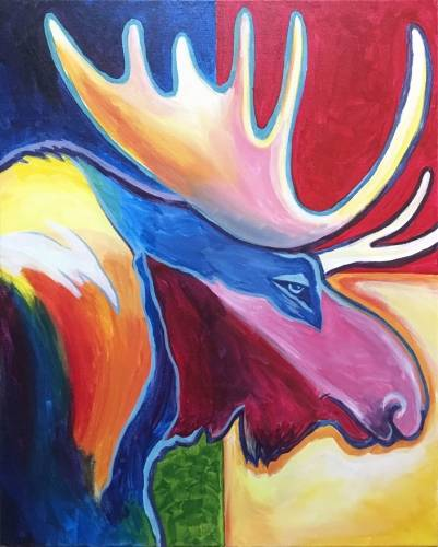 A Moose of Many Colors paint nite project by Yaymaker