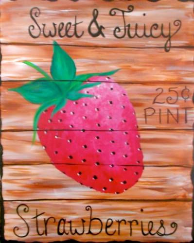 A VINTAGE STRAWBERRY SIGN paint nite project by Yaymaker