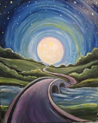 A Moonlight Bridge paint nite project by Yaymaker