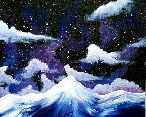 A Starry Purple Mountains paint nite project by Yaymaker