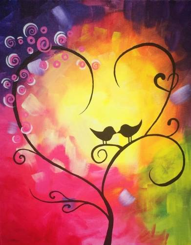 A Colorful Kissy Kissy paint nite project by Yaymaker