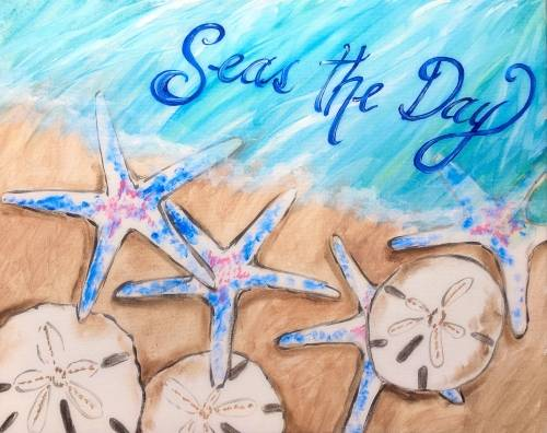 A Seas The Day StarfishSand Dollars paint nite project by Yaymaker