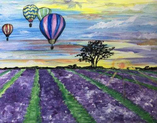 A Sunrise Balloon Ride paint nite project by Yaymaker