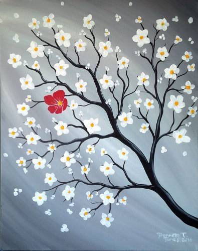 A Lonely Red Blossom paint nite project by Yaymaker