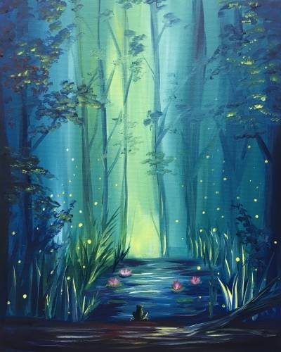 A Glowing Forest paint nite project by Yaymaker